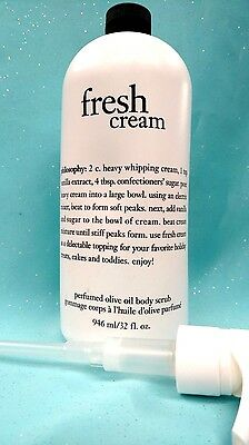 PHILOSOPHY FRESH CREAM PERFUMED OLIVE OIL BODY SCRUB POLISH + PUMP 32 oz