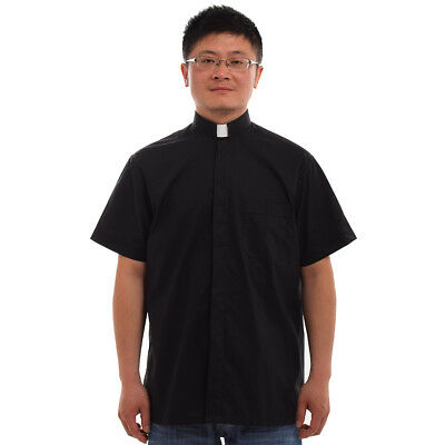 1PC Black Priest Pastor Clergy Shirt with Clerical Collar Short Sleeved Top
