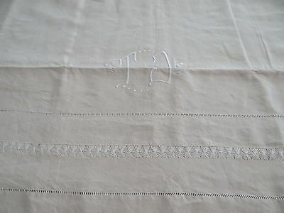 French Pure Linen Sheet-TOILE PUR LIN FLEUR BLEUE- Unused Hand Embroidered TJ