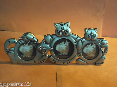 "Metal Frame w/ 3 Different Cats to Hold 3 Photos - Size 1 1/4"" - 1 1/2"" Diameter"