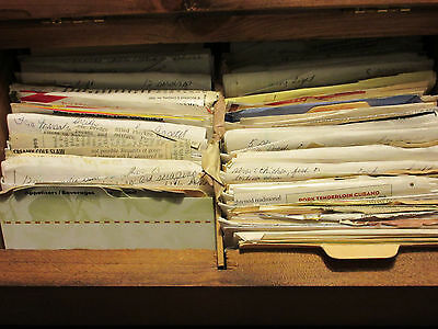 Lots of Handwritten VINTAGE recipes in HUGE Wooden box COOKING Baking Restaurant