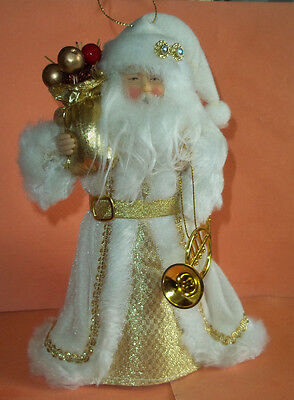 """Santa Claus in White Velour Robe w/Gold Accents Ornament / Tree Topper - 8"""" Tall"""