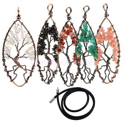 5pcs Black Rubber Cord Necklace with 5pcs Gemstone Life of Tree Pendant
