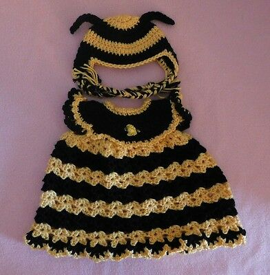 American Girl Doll Clothes Crochet Yellow Bee Dress & Hat Fit American Girl 18""