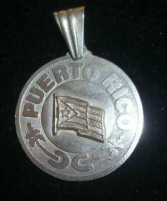 Sterling Silver Puerto Rico Pendant With Flag Free Shipping!
