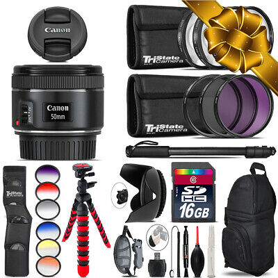 Canon EF 50mm f/1.8 STM Lens + Graduated Color Filter - 16GB Accessory Kit