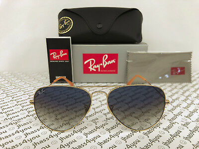 Ray-Ban Aviator Sunglasses RB3025 001/3F Light Blue Gradient/Gold Frame 58-14mm