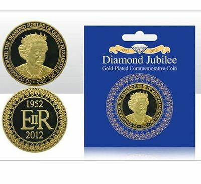 Diamond Jubilee H.M. QUEEN ELIZABETH II 1952 - 2012 Gold Plated Commermorativ...