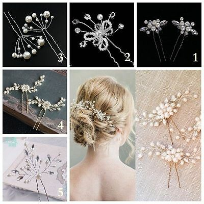 New Bridal Hair Pins Rhinestone Pearl Diamante Flower Slide Clips Grips Wedding