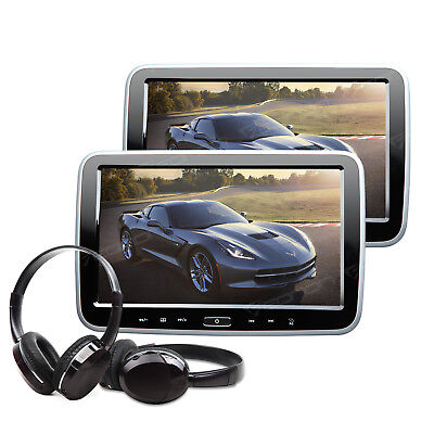 """US Portable 10.1"""" Thin Pair in Car Headrest DVD Player Pillow Monitor +Headset A"""