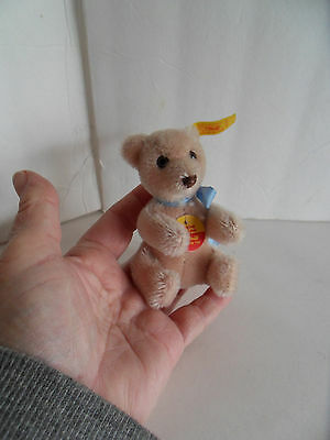 Steiff  bear miniature mohair rose all IDs made in Germany 2165