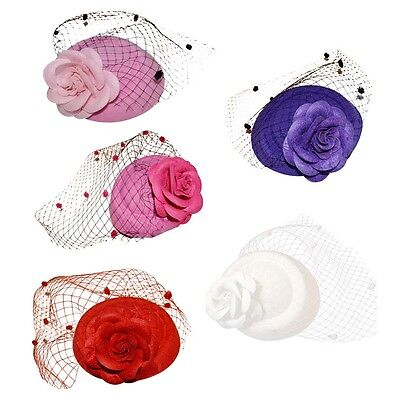 Retro Women Flower Mesh Net Hairpiece Lady Fascinator Hats Wedding Evening Party