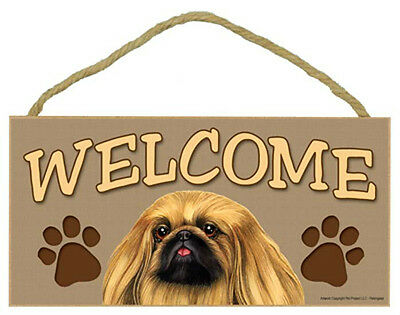 PEKINGESE Dog 5 x 10 Wood WELCOME SIGN Plaque USA Made