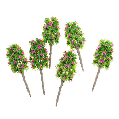 6pcs 1:64 Painted Model Tree w/ Rose Red Flower DIY Railway Landscape Parts