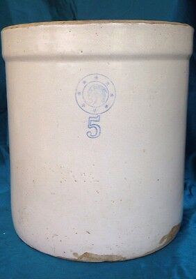 VTG ANTIQUE STONEWARE Louisville 5-Gallon CROCK BLUE AMERICAN INDIAN HEAD STARS