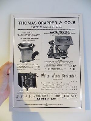 Thomas Crapper & Co.'s specialities advertising sign,water waste preventer