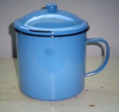 """Blue Metal Handled Pot With Lid 5 1/2"""" Tall"""