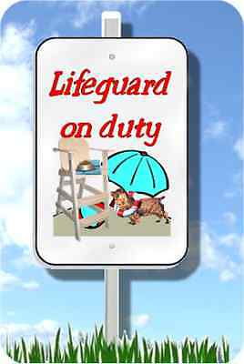 "Sussex Spaniel lifeguard on duty sign novelty 8""x12"" pool yard dog metal"