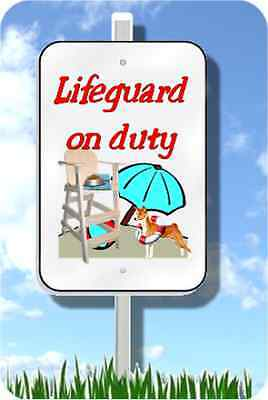 "Basenji lifeguard on duty sign metal novelty 8""x12"" pool yard dog"