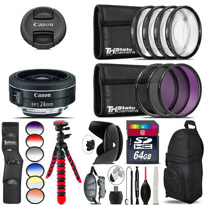 Canon EF-S 24mm f/2.8 STM Lens + Graduated Color Filter - 64GB Accessory Kit