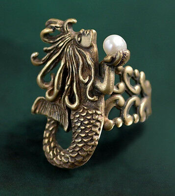 New Sweet Romance Art Nouveau Mermaid Adjustable Ring Bronzetone  ~~Made In Usa~