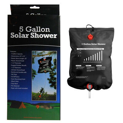 20L Outdoor Camping Hiking Solar Energy Heated Camp Shower Pipe Bag Portable New