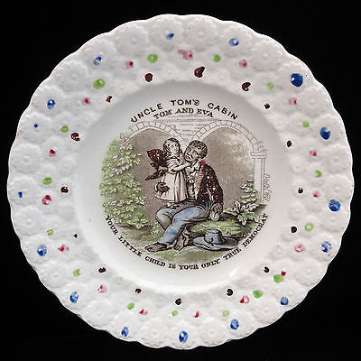 American Historical Staffordshire Childs Plate UNCLE TOM'S CABIN Eva c1850