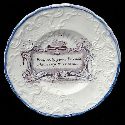 Rare Childs Motto Maxim Fable Plate ~ FRIENDSHIP PROSPERITY ADVERSITY c1830
