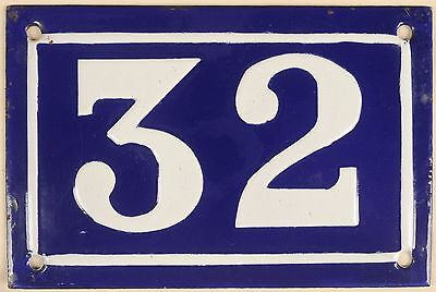 Old blue French house number 32 door gate plate plaque enamel metal sign c1950
