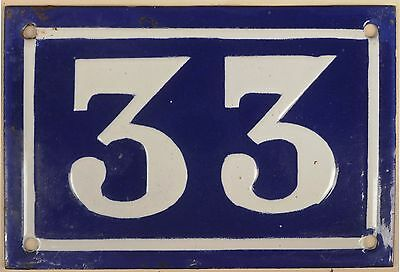 Old blue French house number 33 door gate plate plaque enamel metal sign c1950