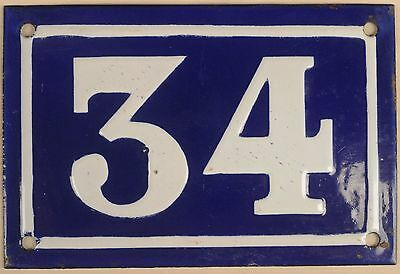Old blue French house number 34 door gate plate plaque enamel metal sign c1950
