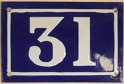 Old blue French house number 31 door gate plate plaque enamel metal sign c1950