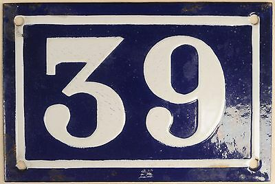 Old blue French house number 39 door gate plate plaque enamel metal sign c1950