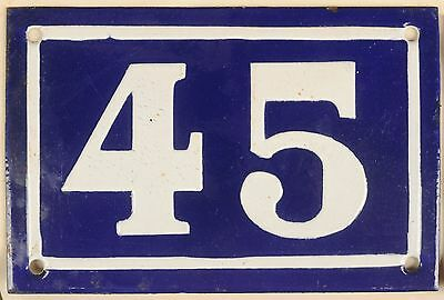 Old blue French house number 45 door gate plate plaque enamel metal sign c1950