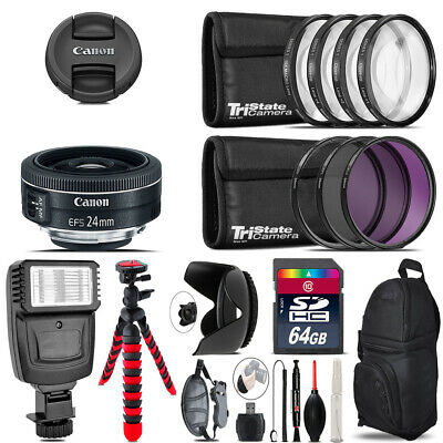 Canon EF-S 24mm f/2.8 STM Lens + Flash +  Tripod & More - 64GB Accessory Kit