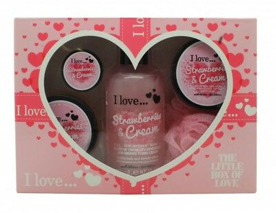 I Love... The Little Box Of Love Strawberry And Cream Gift Set 250Ml Bath & Show