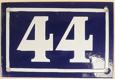Old blue French house number 44 door gate plate plaque enamel metal sign c1950