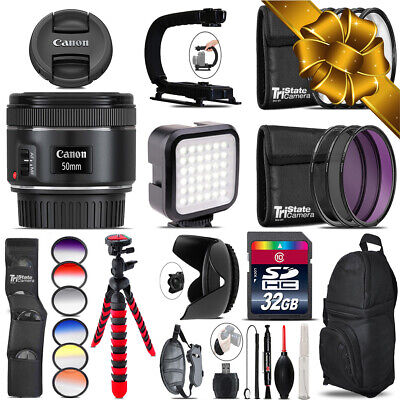 Canon EF 50mm f/1.8 STM Lens - Video Kit + Color Filter - 32GB Accessory Kit