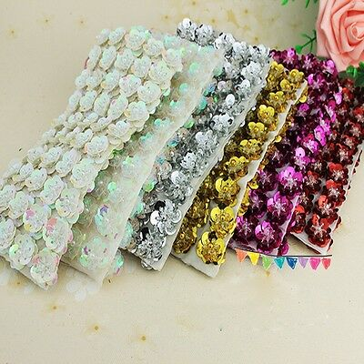 10PCs Shiny Sequin Bead Flower Sew On Applique Patch Clothing accessory Handmade