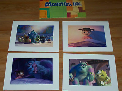 Disney Store Monsters Inc Exclusive Lithograph Portfolio Set of 4 Prints Sully