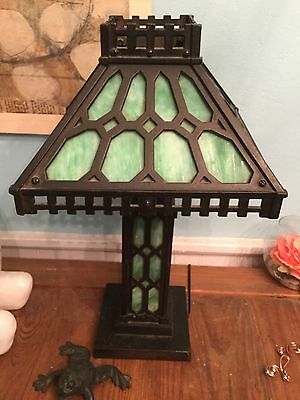 Arts & Crafts Slag Glass/ Cast Iron Lamp/shipping Available