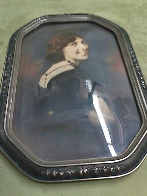 Vintage large French empire picture bubbled oval octagon frame very old  rare