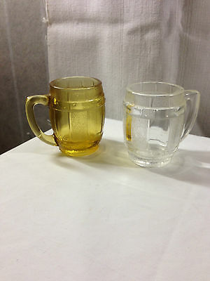 Glass Beer Stein Mug Toothpick Holders - Clear & Amber (2)