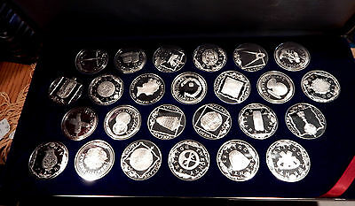 1985 Treasure Coins Of The Caribbean Sterling Silver 25 Coin Set Franklin Mint