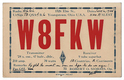 YOUNGSTOWN Ohio Amateur Radio QSL Card 1935
