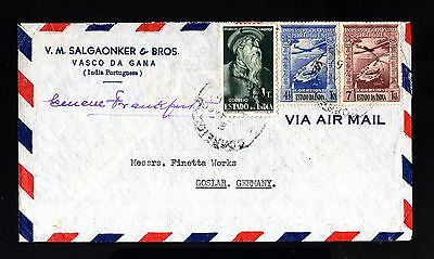 14972-PORTUGUESE INDIA-AIRMAIL COVER VASCO GAMA to GERMANY.1946.Portugal colonie