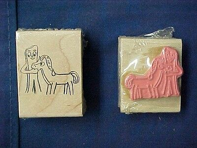 Vintage 1987 Gumby and Pokey Wooden Block Rubber Stamper