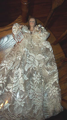 Porcelain Angel w/Lace Gown & April Birthstone Christmas Tree Topper