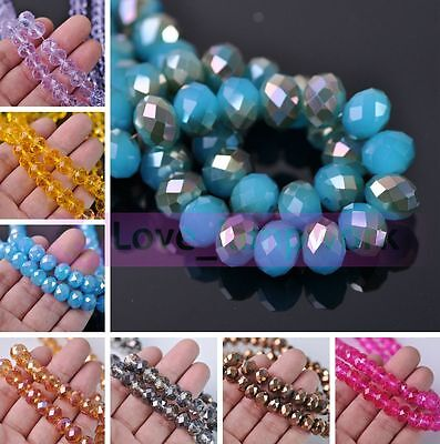 NEW 12X8mm Rondelle Faceted Crystal Glass Loose Spacer Beads Lot Bulk Wholesale