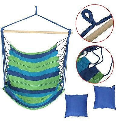 Hanging Hammock Cotton Rope Swing Chair Seat With 2 Mats Outdoor Garden Camping